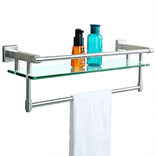 Sayayo Tempered Glass Shelf Square Bathroom Shelf with Towel Bar and Rail Wall Mounted 21 inches, Stainless Steel Brushed Finished, EGK9012