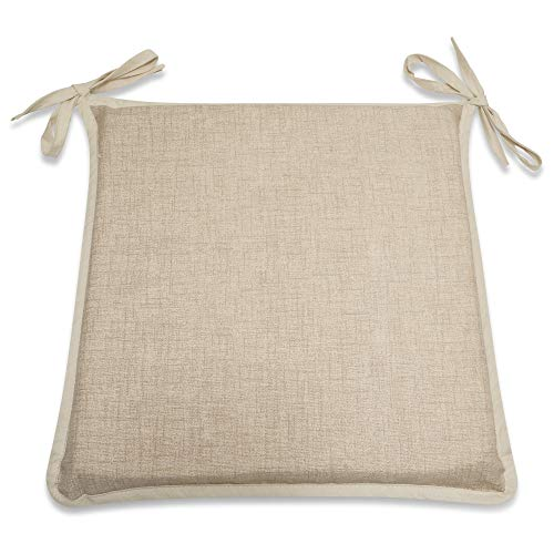 CnA Stores Set of 4 Kitchen Dining Garden Chair Cushion Seat Pads With Ties and Zipped Removable Covers (Hensley NATURAL)