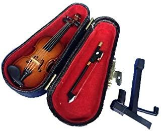 LS Realistic Mini Wood Violin Musical Instrument, Miniature Dollhouse Replica Ornament Holiday Accessories Gifts with Case (3.15inch/8CM)