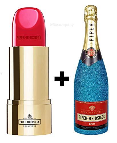 Piper-Heidsieck Brut Champagner 0,75l (12% Vol) Bling Bling Glitzerflasche in blau + Verpackung in Lipstick Lippenstift Form - [Enthält Sulfite]