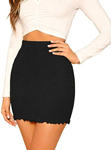 SheIn Women s Ribbed Knit Stretchy Cotton Short Mini Pencil Bodycon Skirt Black Small product image