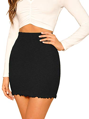 SheIn Women's Ribbed-Knit Stretchy Cotton Short Mini Pencil Bodycon Skirt Black Small