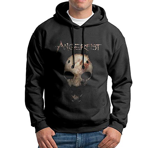 Men's Cotton Pullover Comfortable Hoodie Sweatshirt Black Print Angerfist Hooded Shirts with Pocket 3X-Large