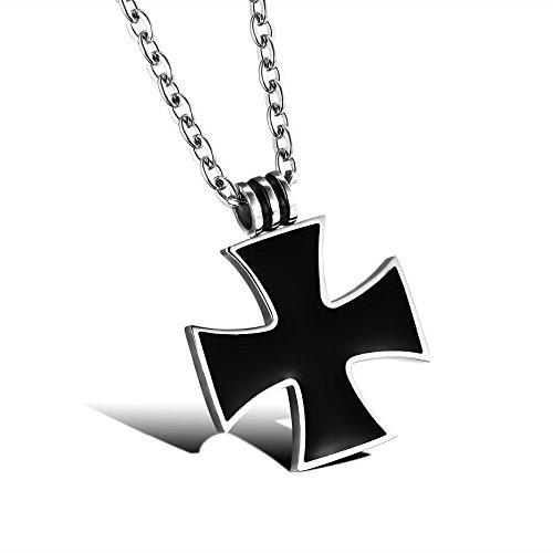 BOBIJOO JEWELRY - Catena e Ciondolo Croce, Nero Maltese Croce Celtica in Acciaio Inox Cavaliere Templare