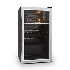 KLARSTEIN Beersafe - Réfrigérateur, Porte vitrée panoramique, Panneau de contrôle, Affichage numérique, Eclairage intérieur LED, Double isolation, Installation flexible, Noir - 80L