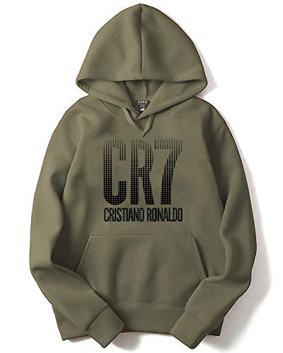ADRO Cristiano Ronaldo Design Printed Hoodies/Sweatshirts for Men & Women (Olive Green; 2XL)
