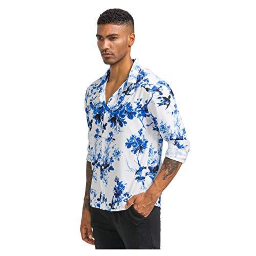 DNOQN Herren Gestreifte Bedruckte Brusttasche Umlegekragen Langarm Freizeit Hemden Herren Freizeit Herbst Poloshirt T Shirt Lang Blau XL