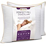 5 STARS UNITED King Size Pillows - Set of 2, 20x36, Super Soft Fiber Fill - Striped Satin Cotton Covers
