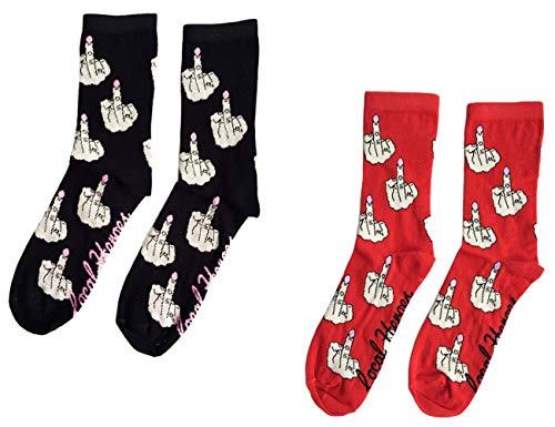 SOMTHRON Damen Lustig Baumwolle Socken mit Stickerei Herbst Winter(RE+BL)
