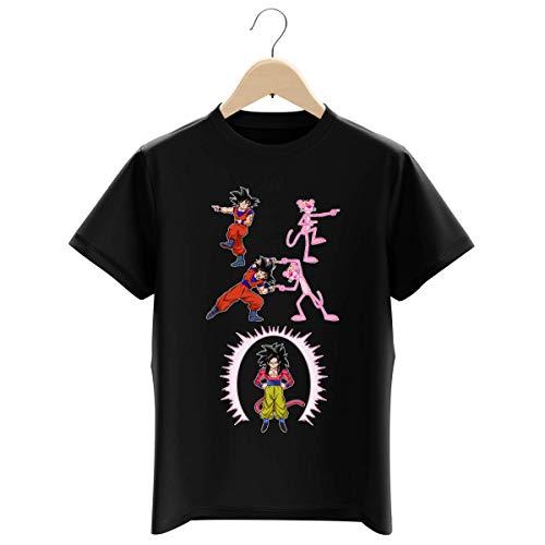 T-shirt Enfant Garçon Noir parodie Dragon Ball GT Panthère Rose - Sangoku 4 et la Panthère Rose - L'être le plus puissant de l'Univers !! (Fusion !!) (T-shirt enfant de qualité premium de taille 13-1