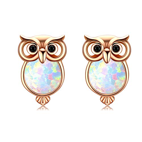 Ohrringe Damen Eule Ohrstecker 925 Sterling Silbler Ohrschmuck Opal Ohrringe Ohrstecker Kindertag Muttertag Geschenke für Damen