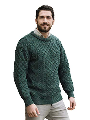 Aran Crafts Irish Soft Cable Knitted Wool Crew Neck Sweater (C1347-LG-MOSS)