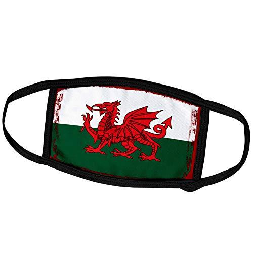 3dRose fm_307194_2 Face Mask Medium Gesichtsmaske, Polyester, Y Ddraig Goch Grunge Walisische Flagge