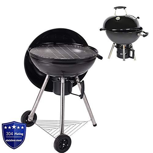 nonbrand Grill Kugel Edelstahl Barbecue Net Emaille Herd Mit Thermometer Independent Charcoal Box Mit Griff Campinggrill für Picknick Garten Terrasse Camping Reise
