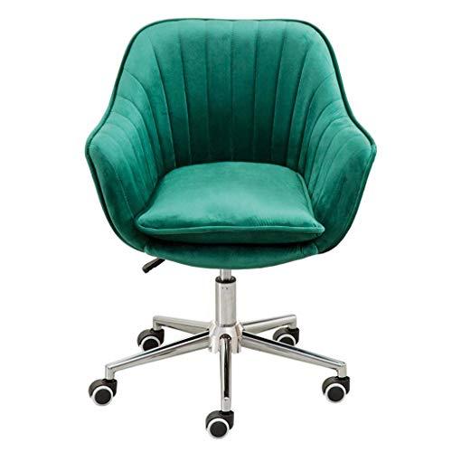 QQXX Home Office draaistoel computer Task Desk Office Modern Velvet Elastic Sponge gewatteerd ergonomisch in hoogte verstelbaar, 45x46-58cm, groen