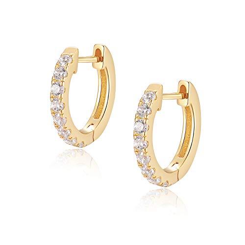 Jewlpire 925 Sterling Silver Huggie Hoop Earrings for Women Girls - 18K Gold Plated Diamond Cut AAAAA+ CZ Handmade Sparkle Hoop Earrings Cuff Stud, Hypoallergenic Girls Cartilage Earrings - Gold
