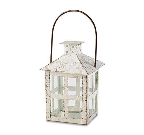 Kate Aspen Vintage White Distressed Medium candle lantern, One Size