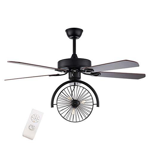 OUKANING Ventilador de Techo con luz, 52 Pulgadas, Velocidad del Viento Ajustable, Regulable con Control Remoto, lámpara de Techo E27 para Dormitorio, Sala, Comedor