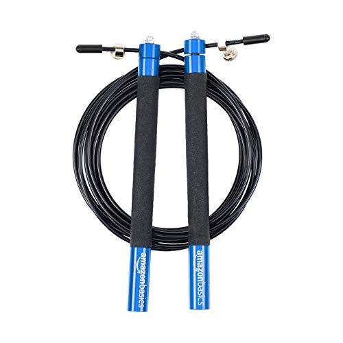 Amazon Basics, corda per salto in velocità, con impugnature antiscivolo in alluminio, blu
