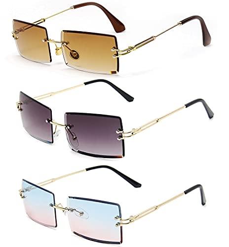 SHEEN KELLY 3 pares de gafas de sol rectangulares sin montura Gafas sin marco ligeras vintage para mujeres y hombres