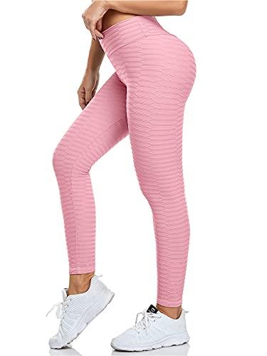 Geahod Leggings Fitness da Donna Pantaloni da Yoga Leggins da Yoga Fitness Palestra Pilates Vita Alta Rosa L