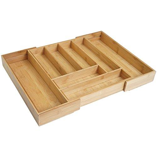 Mendler Besteckkasten HWC-B20, Schubladeneinsatz Geschirrkasten, Bambus variabel 35-58x45cm