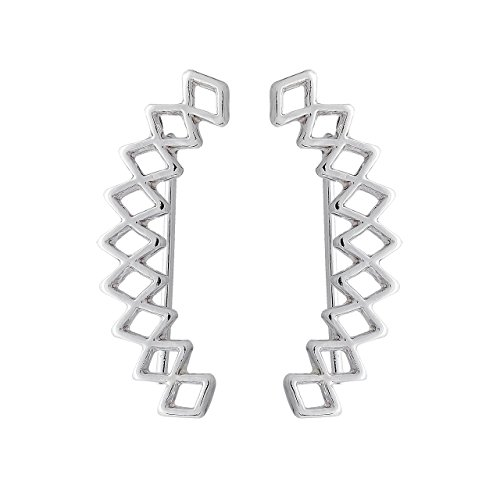 Selia geometrischer Ohrring lang Raupe Ohrstecker Kletterer in minimalistische Optik handgemacht studs (Silber)
