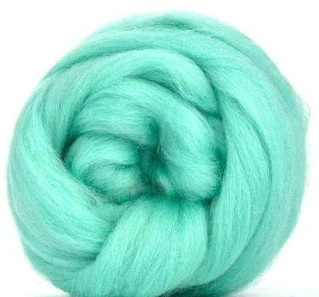 4 oz Paradise Fibers Aqua (Green) Corriedale Top Spinning Fiber Luxuriously Soft Wool Top Roving for Spinning with Spindle or Wheel, Felting, Blending and Weaving