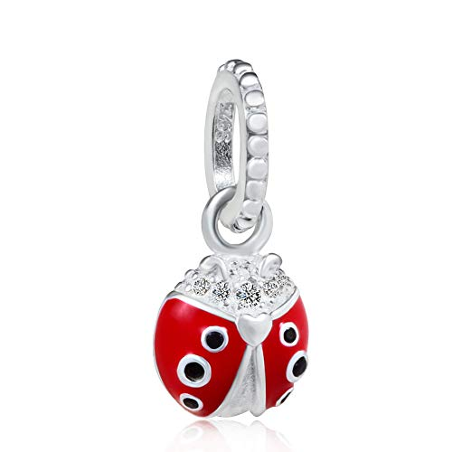 Price comparison product image Red Ladybug Enamel & CZ Pendant,  925 Sterling Silver Animal Beads fit for DIY Charms Bracelets
