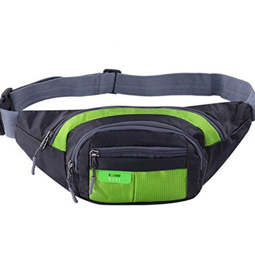 Black Temptation Outdoor Sports Sacs de Taille multifonctionnels pour la Course,la randonnée,Le Cyclisme,Le Camping, Vert 35x15cm