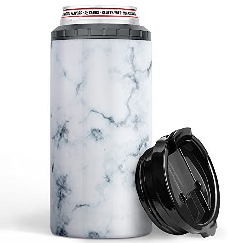 CENSIHER 4 in 1 Slim Beer Can Cooler Skinny Can Koozie Holder Insulated Double Walled Vacuum Stainless Steel Beer Bottles for 12 Oz Skinny Tall Holder Cooler Beer Keep Can Bottle Holder Marbling
