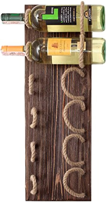Handmade Wood Wine Rack Natural Pine Decor Bottle Holder Organizer Wall Mounted