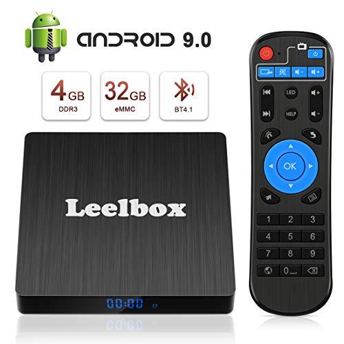 Android 9.0 TV BOX, Android Box 4 GB RAM 32 GB ROM, Leelbox Q4s RK3328 Quad Core 64 bit Smart TV BOX, Wi-Fi integrato, BT 4.1, Box TV UHD 4K TV, USB 3.0
