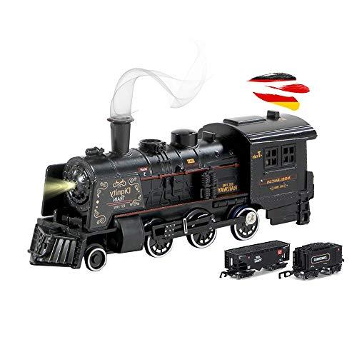 Himoto HSP Elektrische Eisenbahn mit Dampffunktion inkl. 2 Waggons und Eisenbahnstrecke, Zug, Train, Dampf-Lok mit Sound- und Lichteffekte, Modell-Lokomotive Komplett-Set