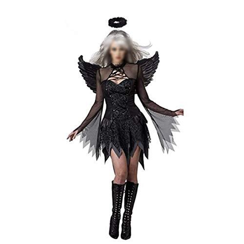 Zhenwo Erwachsener Damen Geister Schwarze Witwe Kostüm Schwarze Geisterbraut Weiblicher Geist Halloween Kostüm Sexy Vampir Dunkler Engel Teufel Karneval Verkleidung,Schwarz,L