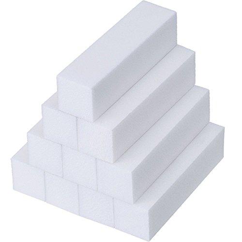 Anself 10pcs Bianco Buffer Blocco Acrilico Nail Art Cura Suggerimenti Levigatura File Strumento (10pcs)