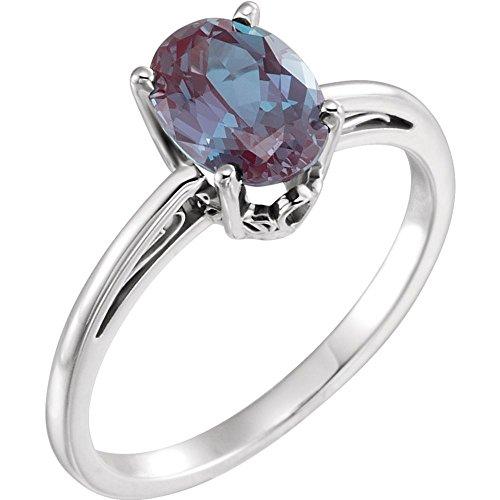 JewelryWeb Ring 14 Karat Weißgold Alexandrit oval 8 x 6 mm Ringgröße M 1/2