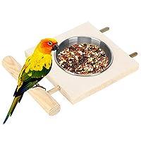 ステンレス鋼の食糧水フィーダーオウムフィーダースタンド、お手入れが簡単なオウムフィーダー、給水用ケージアクセサリー鳥の給餌用ホームヤードガーデン(Double slot) (D)