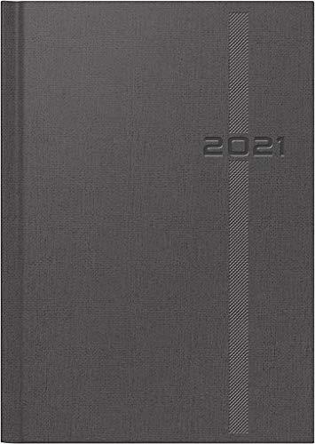 rido/idé 7021812801 Buchkalender Chefplaner, 1 Seite = 1 Tag, 145 x 206 mm, Kunstleder-Soft Cover-Einband Denim grau, Kalendarium 2021