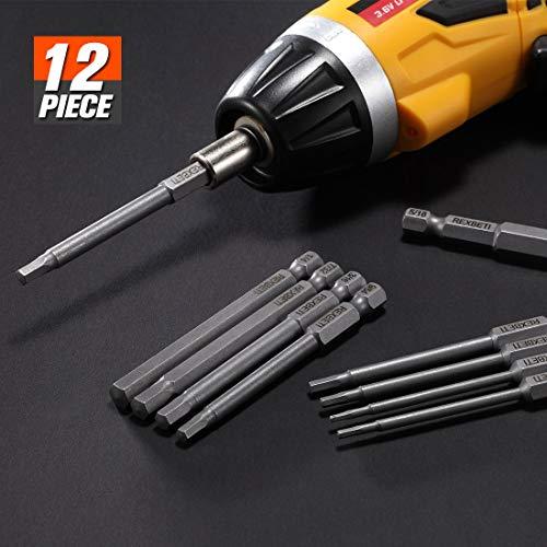 REXBETI Hex Head Allen Wrench Screwdriver Bit Set, 1/4 Inch Hex Shank S2 Steel Magnetic 3 Inch Long Drill Bits, 1/16-3/8 Inch, 12 Piece