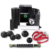 GESUNDWERK Faszienrollen Set - 10-teiliges Faszien Set mit Faszienrolle, Faszienball, Massageroller & Co. für Rücken, Wirbelsäule & Nacken