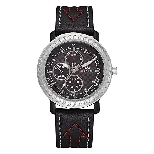 Reloj de cuarzo - Hombres Casual Simple Cuarzo Analógico PU Cuero Correa Reloj de negocios (negro)