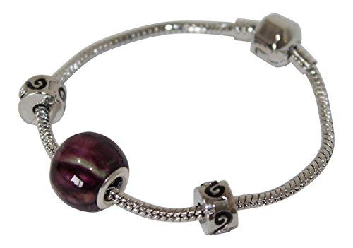 CB Lovely Scottish Heathergems Round Heather Bead Pandora Style Bracelet,...