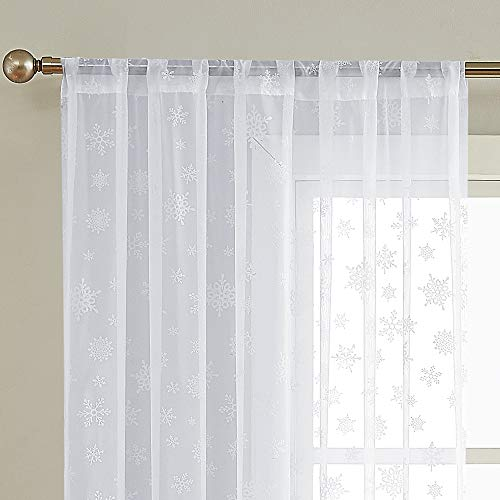 Sheer White Curtains Snow Curtain Panel for Living Room Decor 84 Inch Length Winter Curtains for Bedroom White Sheer Curtains Rod Pocket Snowflake Print Curtains, 2 Panels