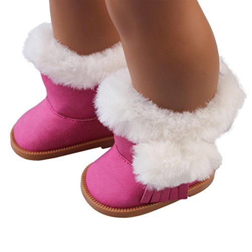 Plüsch Winter Schnee Stiefel Für 18 Zoll American Girl Puppen Upxiang Bildung Spielzeug Puppen Schuhe Stiefel (Heiß Rosa)