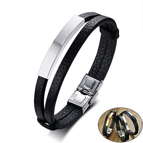 WXYBF Armband Mens Id Tag Armbanden Stijlvolle Zwart Echt Leer Dubbele Lagen 8.26