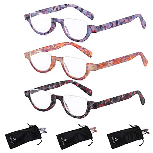 Reading Glasses Women | 3 Pack Fashion Readers Half Moon Frames with Spring Hinge Quality Reading Eye Glasses Multi Color Pattern Variety Pack, (2.50)