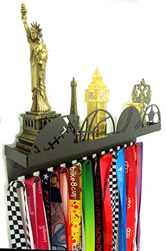 URBN Metal Wall Mount Sports Balls Design Kids & Adults Sports Medal Hanger and Ribbon Display Holder Rack with 3