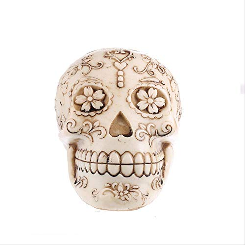 LISAQ Horror Home Decoration Accessories Handmade Horror Resin Skull Statue Sculpture Halloween Decoration Model Books Art Gift Skull