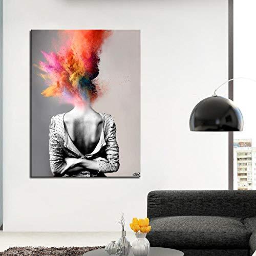 Non-branded moderne kunst poster mode vrouw met bombe bonte haar foto's afdrukken canvas schilderij ideeën voor woonkamer slaapkamer wanddecoratie 40x60cm geen lijst